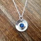 Round Blue Crystal Sterling Silver Necklace, Crystal Jewellery, Blue Necklace