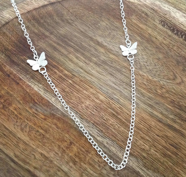 Butterfly Sterling Silver Necklace, Butterfly Necklace, Silver Necklace