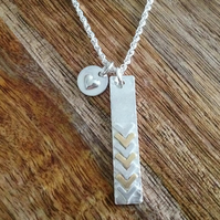 Brass & Silver Chevron Necklace with Heart Necklace, Silver Necklace