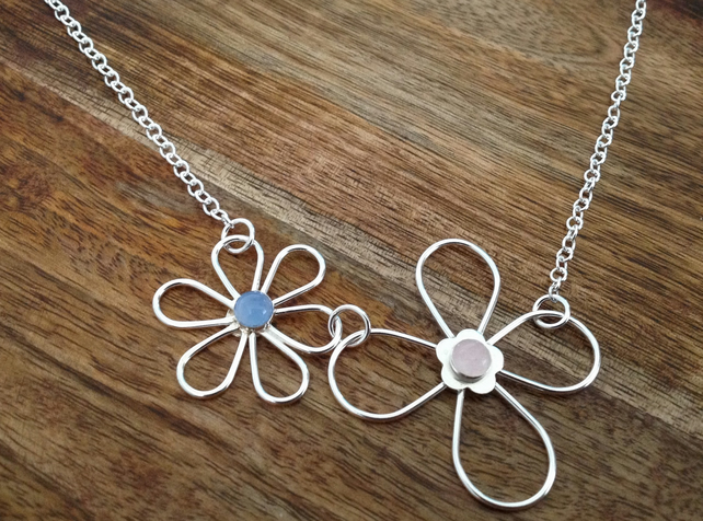 Double Daisy Rose Quartz & Blue Agate Sterling Silver Necklace, Daisy Necklace