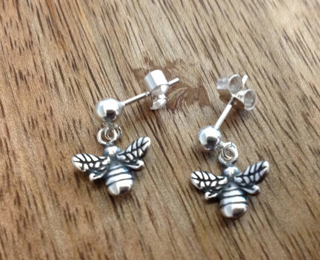 Bumble Bee Sterling Silver Stud Earrings, Silver Earrings, Bee Earrings