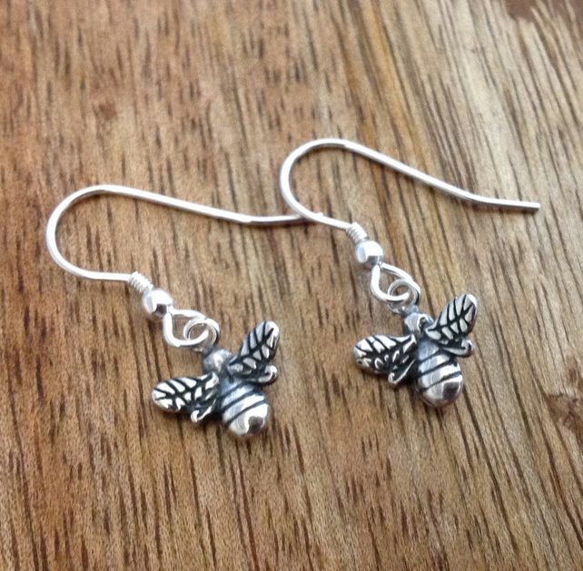 Bumble Bee Sterling Silver Dangle Earrings,  Sterling Silver Jewellery
