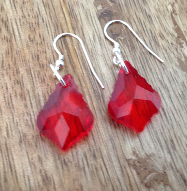 Swarovski Crystal Red Dangle Earrings, Swarovski Crystal Earrings, Red Earrings