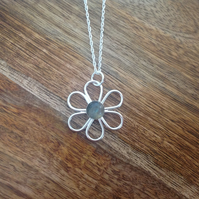 Labradorite Daisy Necklace, Sterling Silver Jewellery, 925 Gemstone Necklace
