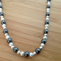 Hematite & Freshwater Pearl Necklace, Sterling Silver Jewellery, Pearl Necklace