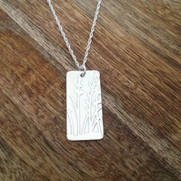 Rectangular Floral Necklace, Sterling Silver Jewellery, 925 Flower Necklace