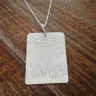 Floral Etched Necklace, Sterling Silver Jewellery, 925 Flower Necklace