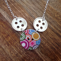 Button Necklace, Sterling Silver Jewellery, 925 Button Necklace, Silver Button