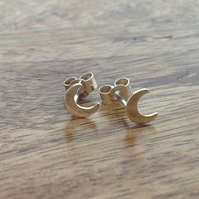 Moon Stud Earrings, Sterling Silver Jewellery, 925 Star Earrings, Moon Earrings