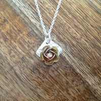 Brass & Sterling Silver Rose Necklace