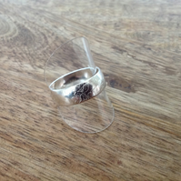 Leaf Print Sterling Silver Ring - Size Y, Sterling Silver Jewellery,