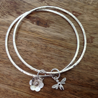 Daisy & Bee Sterling Silver Double Bangle, Sterling Silver Jewellery