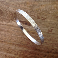 Floral Etched Sterling Silver Bangle, Sterling Silver Jewellery
