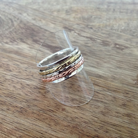 Tri-Coloured 3 Band Sterling Silver Spinner Ring, Silver Jewellery