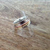 Tri-Coloured 2 Band Sterling Silver Spinner Ring, Silver Jewellery