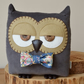 Decorative Owl Shaped Cushion in Grey Corduroy with Custom Bow Tie