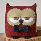 Decorative Owl Shaped Cushion in Red Polka Dot Corduroy with Custom Bow Tie