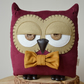 Decorative Owl Shaped Cushion in Dark Berry Corduroy with Custom Bow Tie