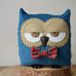 Decorative Owl Shaped Cushion in Petrol Blue Corduroy with Custom Bow Tie