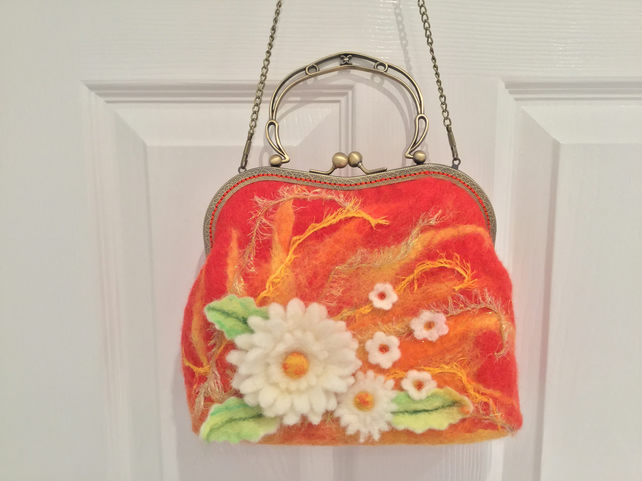 Daisy  vintage style wet felted handbag with antique gold frame