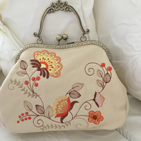 100% leather embroidered vintage style metal frame handbag