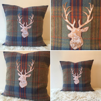 Handmade appliqué stag cushion cover 20""