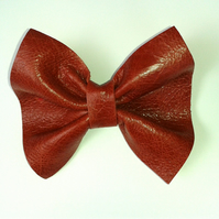BOW TIE DICKY BOW CLIP ON BOW TIE IN RED LEATHER
