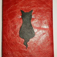 Journal Notebook Notepad in Red Leather with Black Cat design