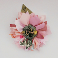 Leather and fabric brooch, corsage, lapel pin,rag rug flower, pale pink shades