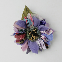 Leather and fabric brooch, corsage, lapel pin,rag rug flower, lilac shades