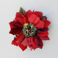 Leather and fabric brooch, corsage, lapel pin,rag rug flower, red shades