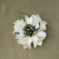 Leather and fabric brooch, corsage, lapel pin,rag rug flower, cream shades