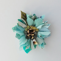 Leather and fabric brooch, corsage, lapel pin,rag rug flower, turquoise shades