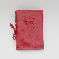 Leather needlecase, red bow needleholder, red leather needlebook, pin cushion