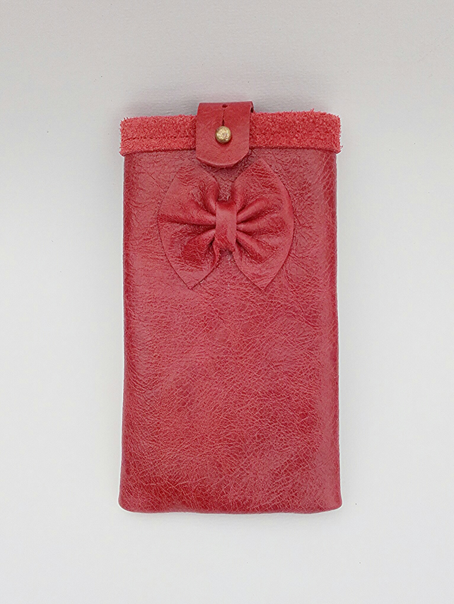 Leather phone case, red bow phone sleeve, phone cozy, red leather phone holder