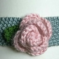 Moss-Stitch Hair Band, Knitted Alice band, Knitted Headband, Rose Hairband