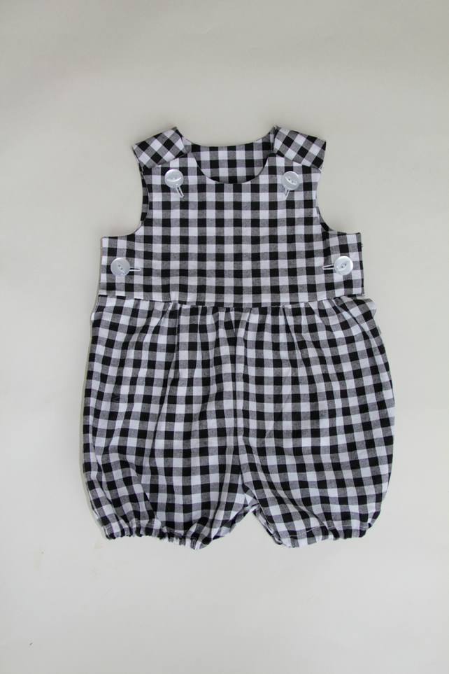 Gender Neutral Baby Romper in Black Gingham