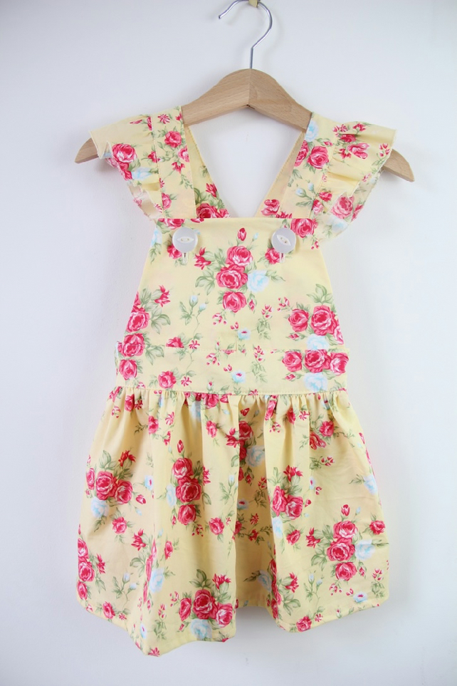 Bella Pinafore Dress in Yellow Floral