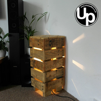 Reclaimed Wood Side table with Lamp Upcycled Cool Table