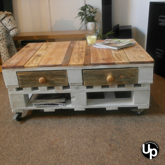 White Shabby Chic Reclaimed Wood Coffee Table on wheels 2 drawers