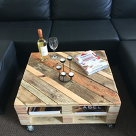 Reclaimed Wood Coffee Table with Castors FREE DELIVERY