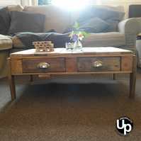 Reclaimed Wood Coffee Table with Drawers and Castors FREE DELIVERY