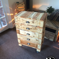 Reclaimed Wood Chest of Drawers on Castors FREE DELIVERY