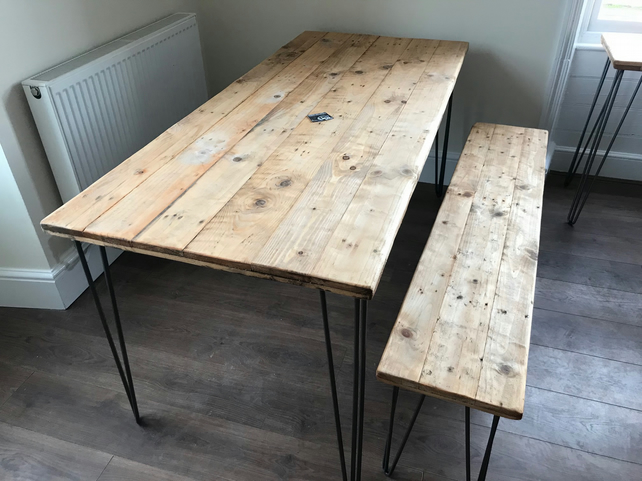 Rustic Wood Dining Table and 1 Bench with hairpin legs. FREE DELIVERY