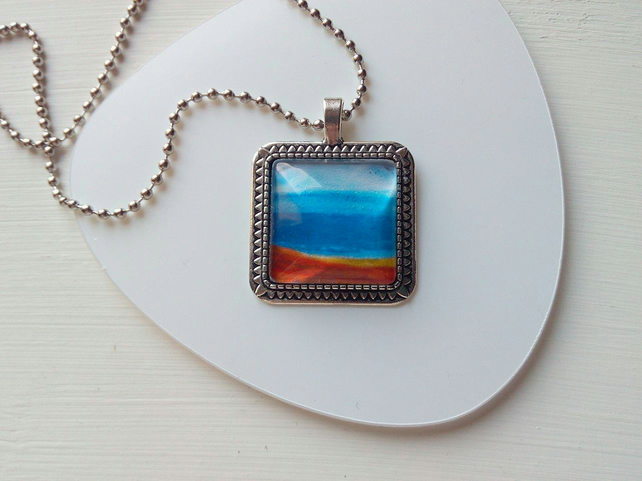 Square Glass Silver Necklace Skyscape Abstract Nature