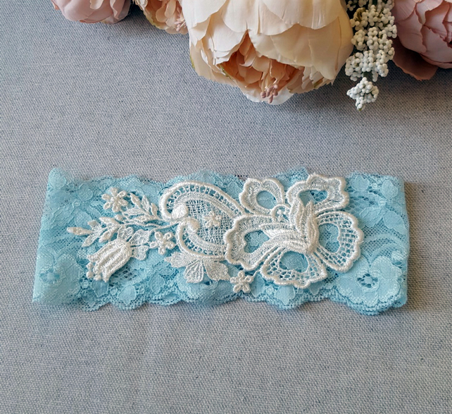 Blue stretch lace bridal wedding garter, ivory applique