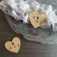 Personalised wooden heart, personalised wedding charm