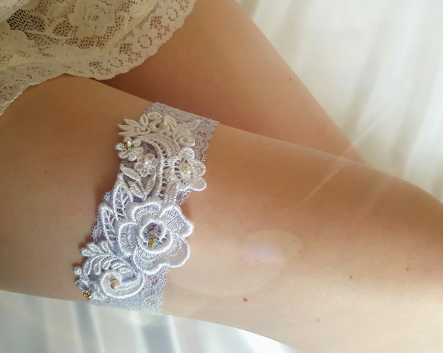 Blue garter, wedding garter, bridal garter