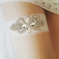 Off white bridal garter, rhinestone applique wedding garter