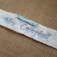 Personalised embroidered bridal garter, Mrs wedding garter with matching bow